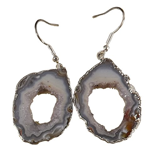 Agate Earrings, Stone Geode Slice w/ Center Druzy Crystals, 1