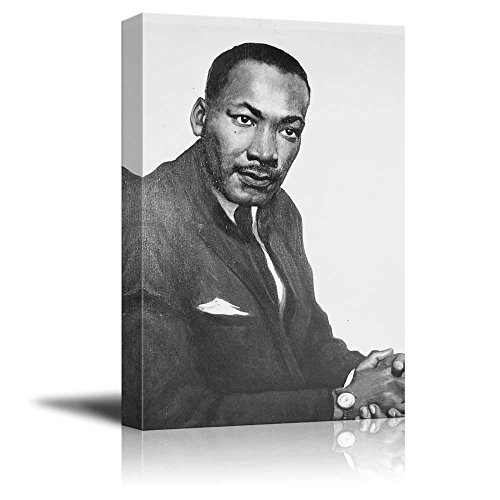 Portrait of Martin Luther King, Jr. - Inspirational Famous People Series | Giclee Print Canvas Wall Art. Ready to Hang - 16