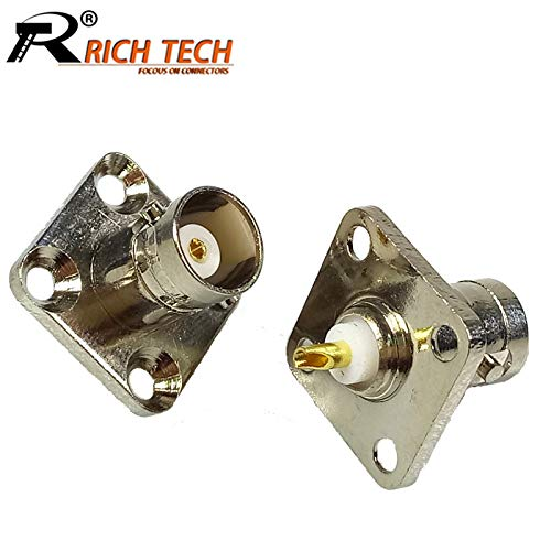 Gimax 10pcs/ BNC Female Jack Socket Connector 4-hole Panel Mount RF Coaxial BNC Adapter 4 Hole Flange Panel Chassis for Solder Cable ()
