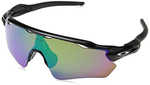 (Oakley Men's Radar Ev Path Polarized Iridium Rectangular Sunglasses, Polished Black, 0 mm)