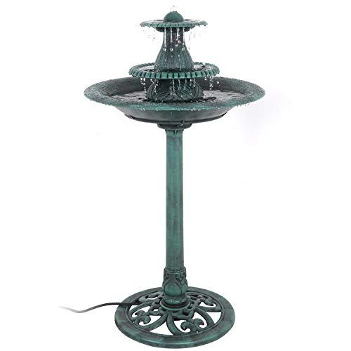 HomGarden Resin Pedestal Bird Bath Garden Outdoor Decorative Feeder Planter Décor (Green w/Pump)