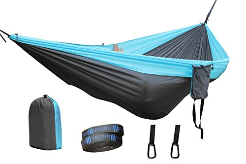 Camping Hammock,Lightweight Nylon Portable Hammock with Tree Straps for Backpacking, Camping, Travel, Beach, Yard(Gray-Skyblue) - Gray Nylon Strap