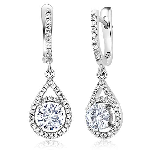 (925 Sterling Silver Dangle Earrings Timeless Brilliant Round (IJK) 1.20ct (DEW) Created Moissanite)