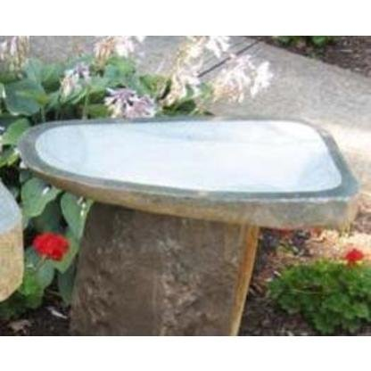 Stone Age Creations BB-BO-3 Granite Boulder Birdbath, Natural, Medium - Granite Birdbath