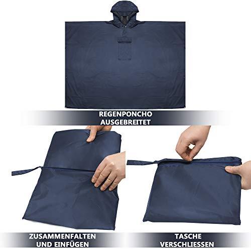 Kapuze Reißfest Wasserfest Herren/Damen Tasche Schwarz/Unisex - inkl HINRI Fahrrad Regenponcho Navy Blau verschließbaren Seiten