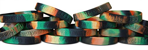 Novel Merk Fifteen-Piece Kids Party Favor & School Carnival Prize Army Camoflauge Silicone Rubber Band Wristband Bracelet Accessory
