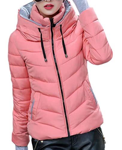 EKU Womens Lightweight Hooded Quilted Winter Puffer Outwear Down Coat Pink