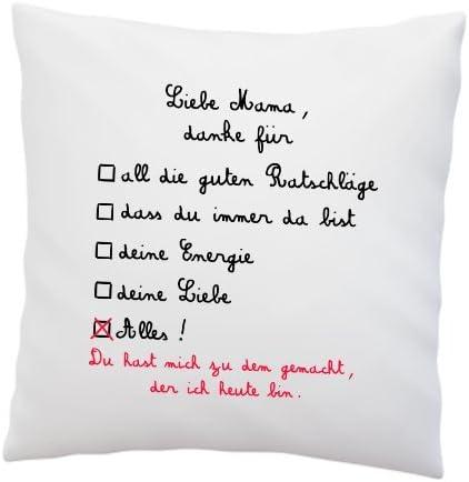 Kissen Mit Spruch Liebe Mama Danke Für Deko Kissen Muttertag Geschenkidee Weiß 40cm X 40cm Kissen Inkl Füllung Muttertagsgeschenk
