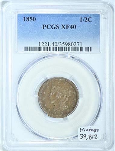 1850 P Braided Hair Half Cent XF-40 PCGS