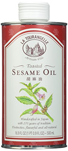 La Tourangelle Toasted Sesame Oil - Rich, Deep, Delicious Flavor - All-natural, Expeller-pressed, Non-GMO, Kosher - 16.9 Fl. Oz.