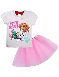 Indepence Life Girls' 2PC Paw Patrol White T-Shirt and Tutu Skirt 3-8Years Girls Dress Set
