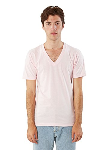American Apparel  Unisex Fine Jersey Short Sleeve V-Neck, Light Pink, Small