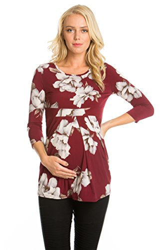 My Bump Women's Maternity Top - 3/4 Sleeves Pleated Front Ultra Soft Shirt Burgundy Small - Pleat Sleeve Maternity Dress