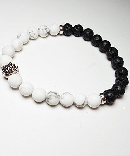 Men Beaded Bracelet Unisex Black and White Bead Bracelet Jew