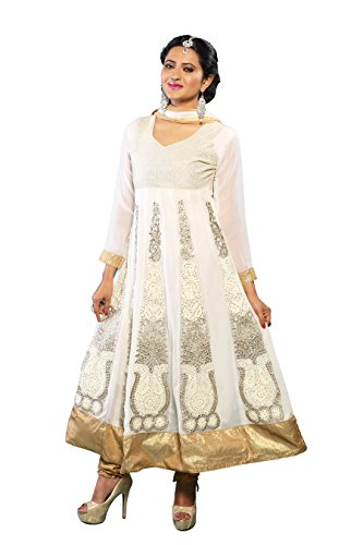 Vibes Womens Georgette Patch Work Anarkali Unstitched Dress Material (V188-1008 A _White)