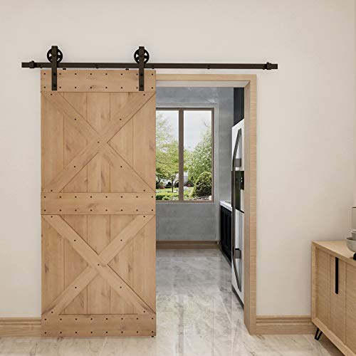 (6.6ft Matte Black 1 Rail Spoke Wheel Hanger Roller Sliding Barn Door 36in 84in Natural Knotty Alder Shiny,Ultimate)