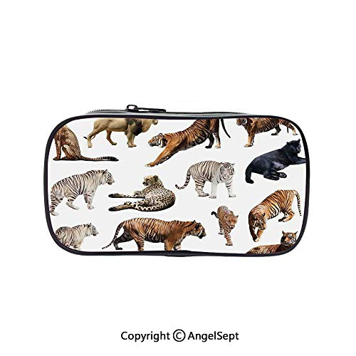 (Pencil Holder with Handle Strap Handy Colored,Collection of Tigersand Other Big Wild Cats Predatory Feline Zoo Lying Standing Background 5.1inches,Large Capacity Students Stationery)