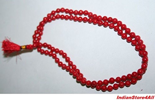 IndianStore4All CERTIFIED Natural Coral Rosary (Moonga Ki Mala), RED CORAL ROSARY 5-6 MM Approx