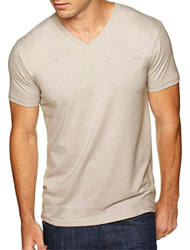 Next Level Apparel 6440 Mens Premium Fitted Sueded V-Neck Tee - Sand, -