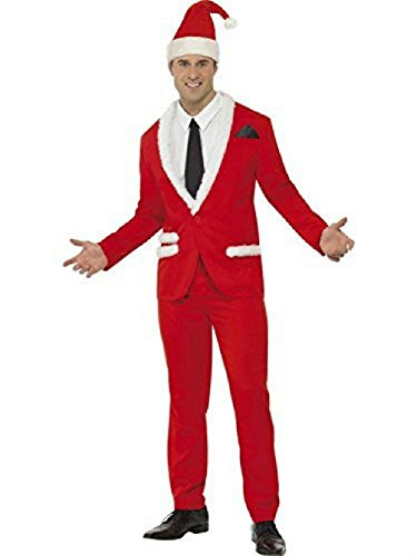 Light Up Long Adult Wig (Santa Cool Men's Stylish Red and White Suit Adult Costume Size Large)