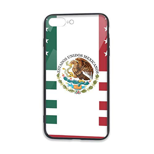 Smartphone Cover with TPU Bumper and Tempered Crystal Clear Glass Back Compatible for iPhone 7/8 Plus Printed Designs Function Buttons Use Freely Mexico America Friendship Flag]()