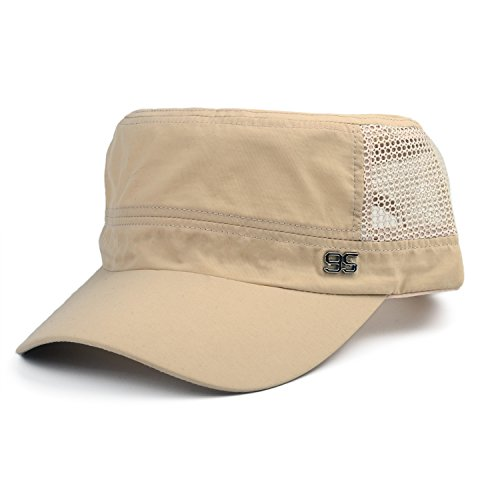 Visor Military Style Cap (Flammi Flat Top Baseball Cap Military Style Hat Quick Dry Breathable Mesh Sun Cap For Men Women (Beige))