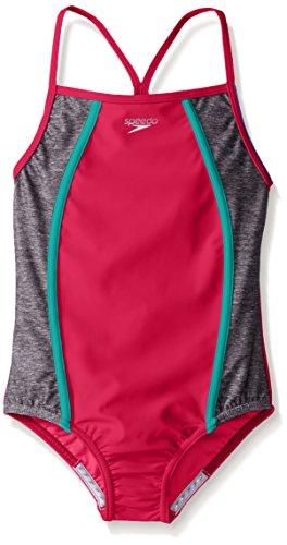 Speedo Girls Heather Splice One Piece Swimsuit, Electric Pink, Size 16