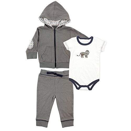 Yoga Sprout Baby Pant, Bodysuit, and Hoodie Set, Navy Lion, 6-9 Months