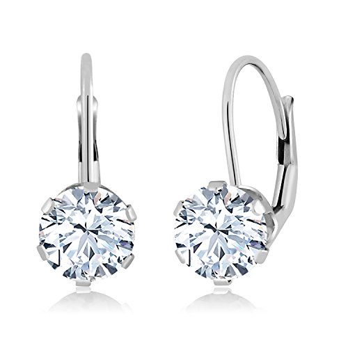 Gem Stone King 1.68 Ct Round White Zirconia 14K White Gold Earrings ()