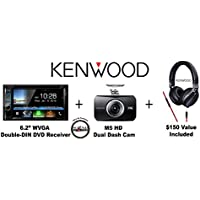 Kenwood DDX6903S 6.2 DVD Receiver w/ Apple CarPlay, built in Bluetooth & HD Radio with Momento DashCam MD5200 and Kenwood KH-KR900 Over the Ear Headphones with a FREE SOTS Air Freshener Package