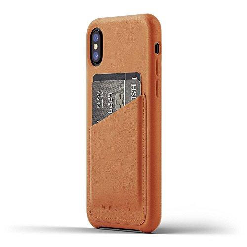 Tan Aniline Leather (iPhone X wallet case, [One-Of-a-Kind Luxury Leather Wallet Case] MUJJO FULL LEATHER WALLET Super Slim Clean Silhouette Rugged Drop Cover, Japanese Suede, 2-3 Card Slot, Protective Screen Bezel, (Tan))