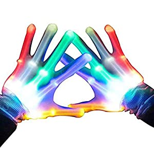 ATOPDREAM LED Flashing Finger Light Up Gloves for Kids with 5 Spare Batteries- Best Gifts