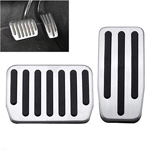 ALLPE Tesla Model 3 Accessories, Accelerator and Brake Pedal-Cover Anti Slip Gas Brake Pedal Foot Pedal Pads Auto Aluminum Pedal Covers Foot Pads with Rubber Pull Tabs Tesla Model3 Pedal Cover