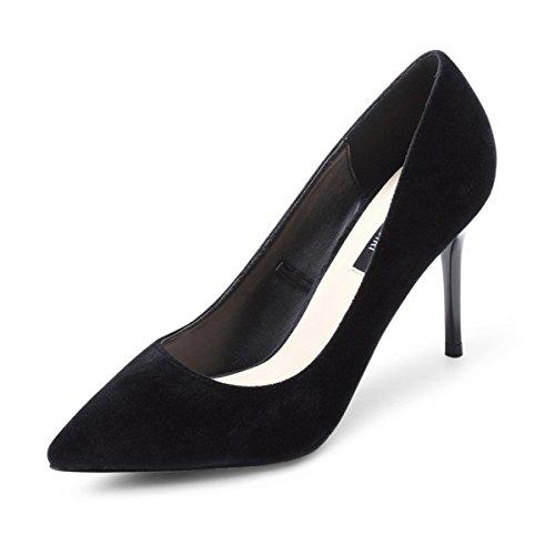 Fine Bouche Élégant Été Chaussures Talons Hauts Chaussures Femmes Pointues Chaussures Sexy Ladies Court Simples Chaussures Printemps Shallow Chaussures Talon 9cm Black gBwCOq