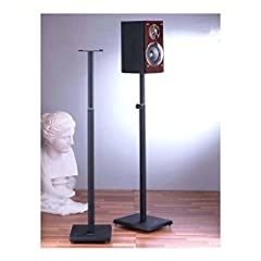 "Features:                       Beautifully textured powder coated cast iron base with heavy gauge steel pillar.         Adjustable height (33.75"" - 59"") and top plate to accommodate different surround sound and mini speakers ..."