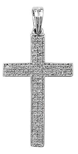 9ct or blanc 0,26ct serti de Diamant Croix Pendentif sur un collier maille jaseron