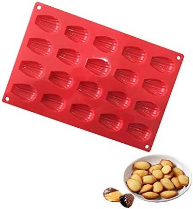 Madeleine Bakvormen 20 gaten BPAvrije siliconen bakvorm miniantiaanbaklaag bakplaat voor cake chocolade koekjes rood