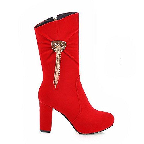 VogueZone009 Damen Reißverschluss Schließen Zehe Rein Metallisch Stiefel, Rot, 38