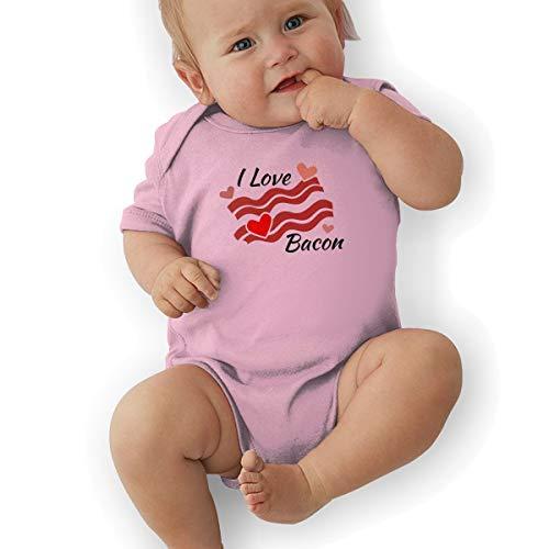 Newborn Baby Girl's Bodysuit Short-Sleeve Onesie I Love Bacon Print Outfit Spring Pajamas Pink ()