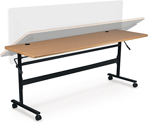 MooreCo Essentials Flipper Training Table 72x24 Teak Top Black Base (90094) by MooreCo (Image #2)