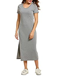 Meaneor Women Maxi Long Round Neck Short Sleeve Casual Plain Dress M-3XL