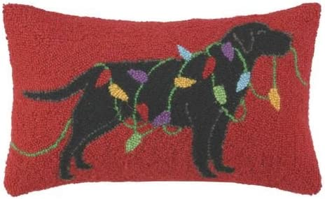 Black Lab Labrador Retriever Dog Holiday Lights Wool Hooked Christmas Throw Pillow – 12 X 18