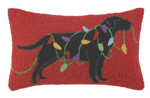 Black Lab Labrador Retriever Dog Holiday Lights Wool Hooked Christmas Throw Pillow - 12