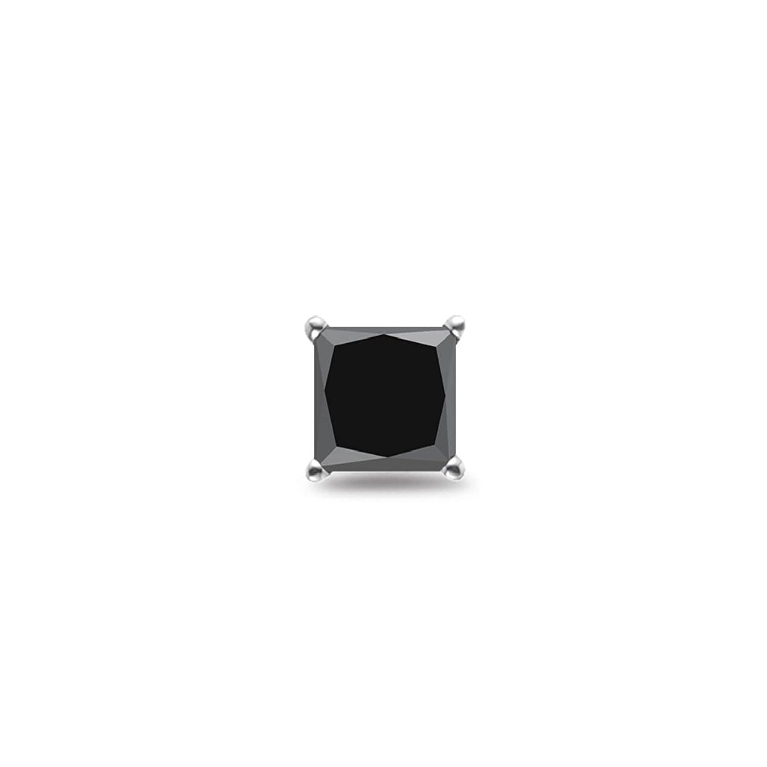 0.21-0.27 Cts of 2.50-3.00 mm AA Princess Black Diamond Mens Stud Earring in 14K White Gold - Valentine's Day Sale