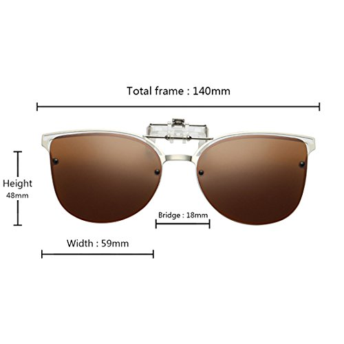 de Marron Polarized Up on soleil Lunettes vue Lunettes Cat Inlefen de Eye métal Flip Clip en ZwTTxP