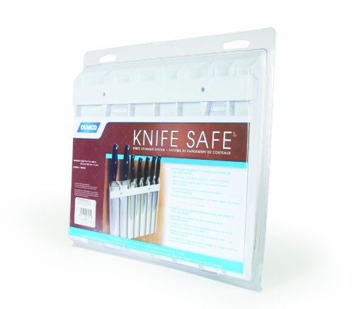"Camco Knife Safe - Securely Mounts on Wood or Metal Surfaces, Holds 7 Cooking and Carving Knives, Organize and Store Knives While Creating Space - (9"" x 11"") White (43581)"