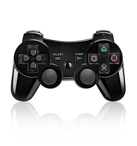 Bluetooth Wireless Vibration Game Controller for Sony PS3 with charge cable cord (Jet Black)