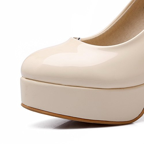 Color Closed AllhqFashion High Round Buckle Heels Beige Womens Toe Assorted Pumps Shoes qxwF8Zw
