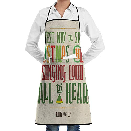 LALACO-Design Buddy The Elf Christmas Cheer Cooking Women Kicthen Bib Aprons with Pockets for Chef,Grandma Suitable for Baking,Grilling,Painting Even Fit for Arts,Holiday