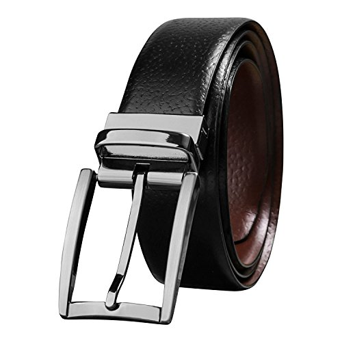 Savile Row Men's Milled Leather Fashion Belt with Reversible Buckle (Formal Reversible Belt)